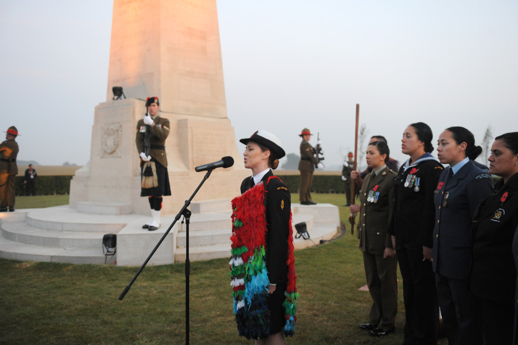 The Dawn Service at the New Zealand Battlefield Memorial Longueval, France. Able Musician Rebecca Nelson and New Zealand Defence Force Maori Cultural Group.
